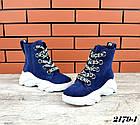 Женские зимние ботинки синего цвета, из натуральной замши 40ПОСЛЕДНИЙ РАЗМЕР, фото 2