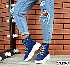 Женские зимние ботинки синего цвета, из натуральной замши 40ПОСЛЕДНИЙ РАЗМЕР, фото 3