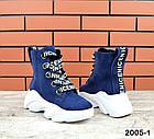 Женские зимние ботинки синего цвета, из натуральной замши 40ПОСЛЕДНИЙ РАЗМЕР, фото 4