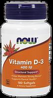 Вітамін NOW Foods Vitamin D-3 400 IU 180 Softgels