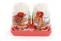 Набор для специй Встреча собак: солонка и перечница на керамической подставке