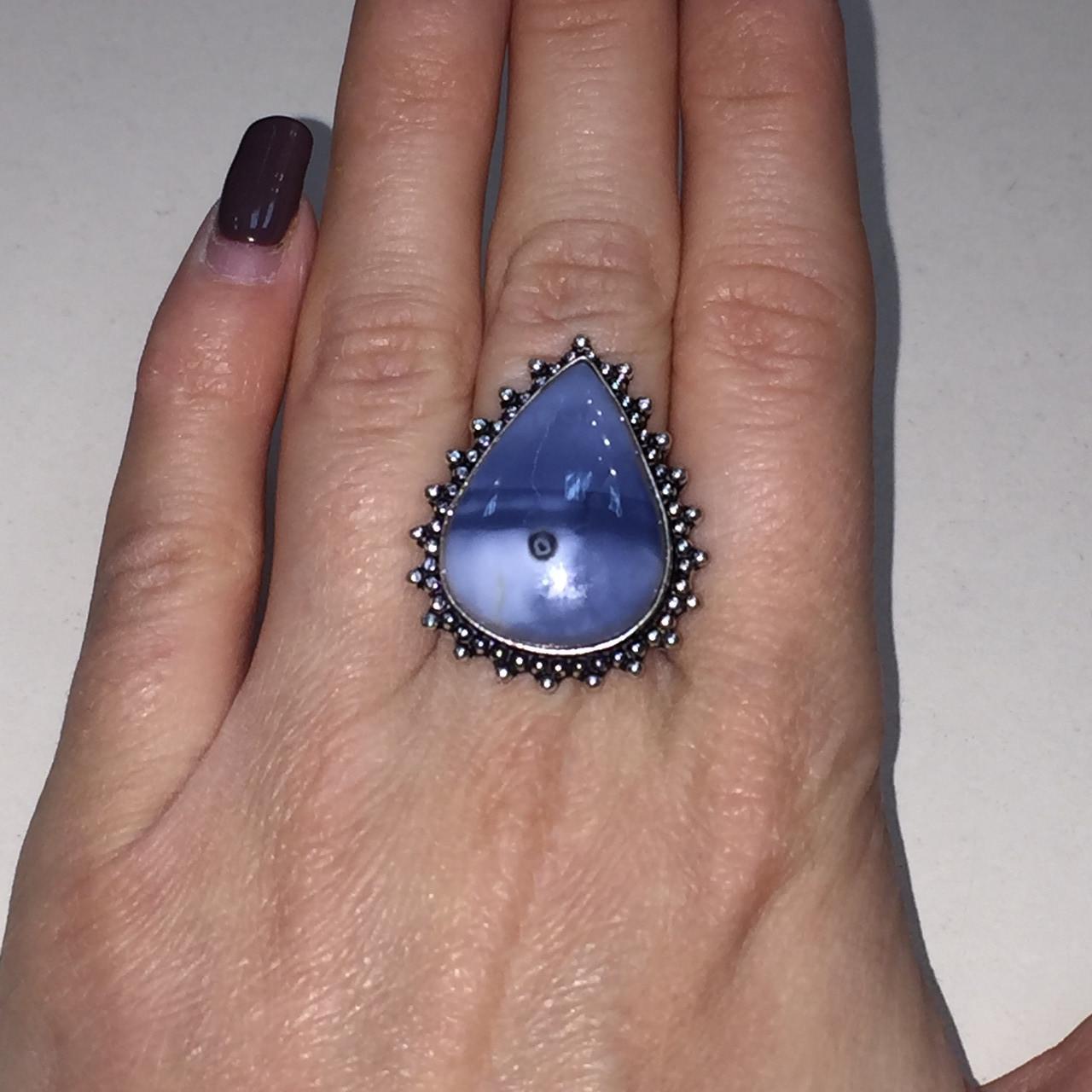 Кольцо капля опал редкий голубой опал Овайхи (Owyhee) размер 18-18,5 кольцо с опалом в серебре Индия