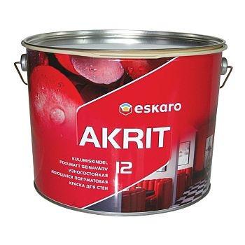Износостойкая моющаяся полуматовая краска для стен Eskaro Akrit 12  2,85 л
