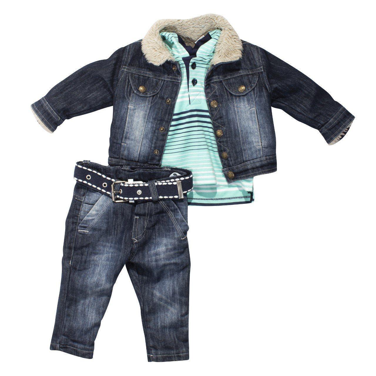 Джинсовый костюм - тройка для мальчика, 9, 12 мес.