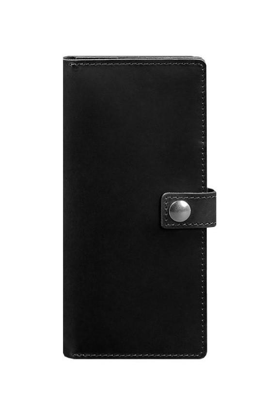 Кошелек на кнопке кожаный черный BN-TK-6-g-kr