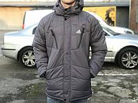 Зимняя мужская удлиненная куртка Adidas, серая