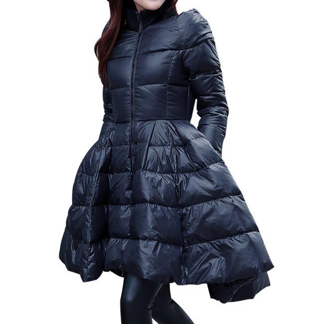 Куртка зимняя женская черная, длинный пуховик размер L (40) СС-8521-10