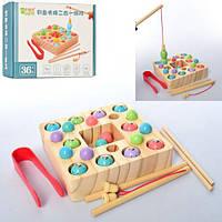 Деревянная игрушка Рыбалка магнитная, 2 удочки