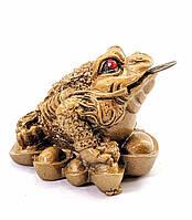 Жаба на монетах каменная крошка желтая (5х4х4 см)
