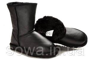 """Женские зимние угги  UGG CLASSIC SHORT II LEATHER BOOT """"BLACK"""", фото 2"""