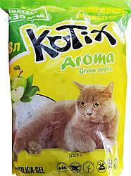 Силикагелевый наповнювач для котячого туалету Kotix Aroma Green Apple 3.8 л (з ароматом яблука)