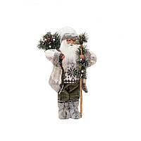 Дед Мороз в сером свитере с посохом 48см 109439