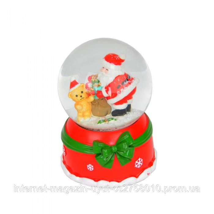 Музыкальный снежный шар с диодной подсветкой и автоподдувом снега - фото 1