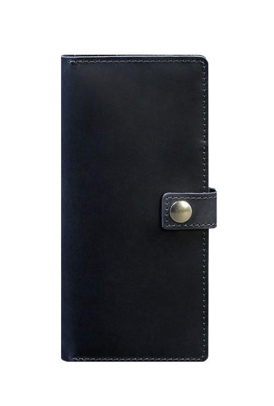 Кошелек на кнопке кожаный синий BN-TK-6-nn