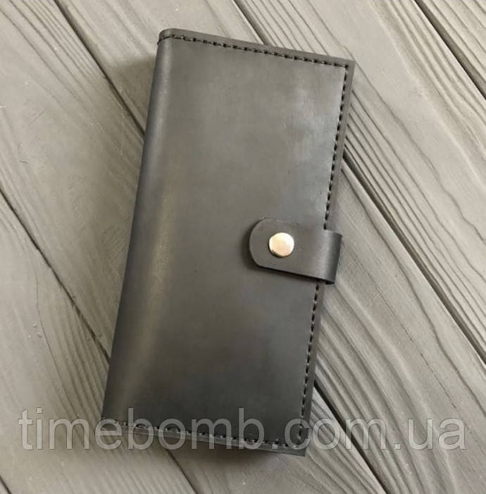 Чоловічий гаманець з натуральної шкіри Besane Elite чорний