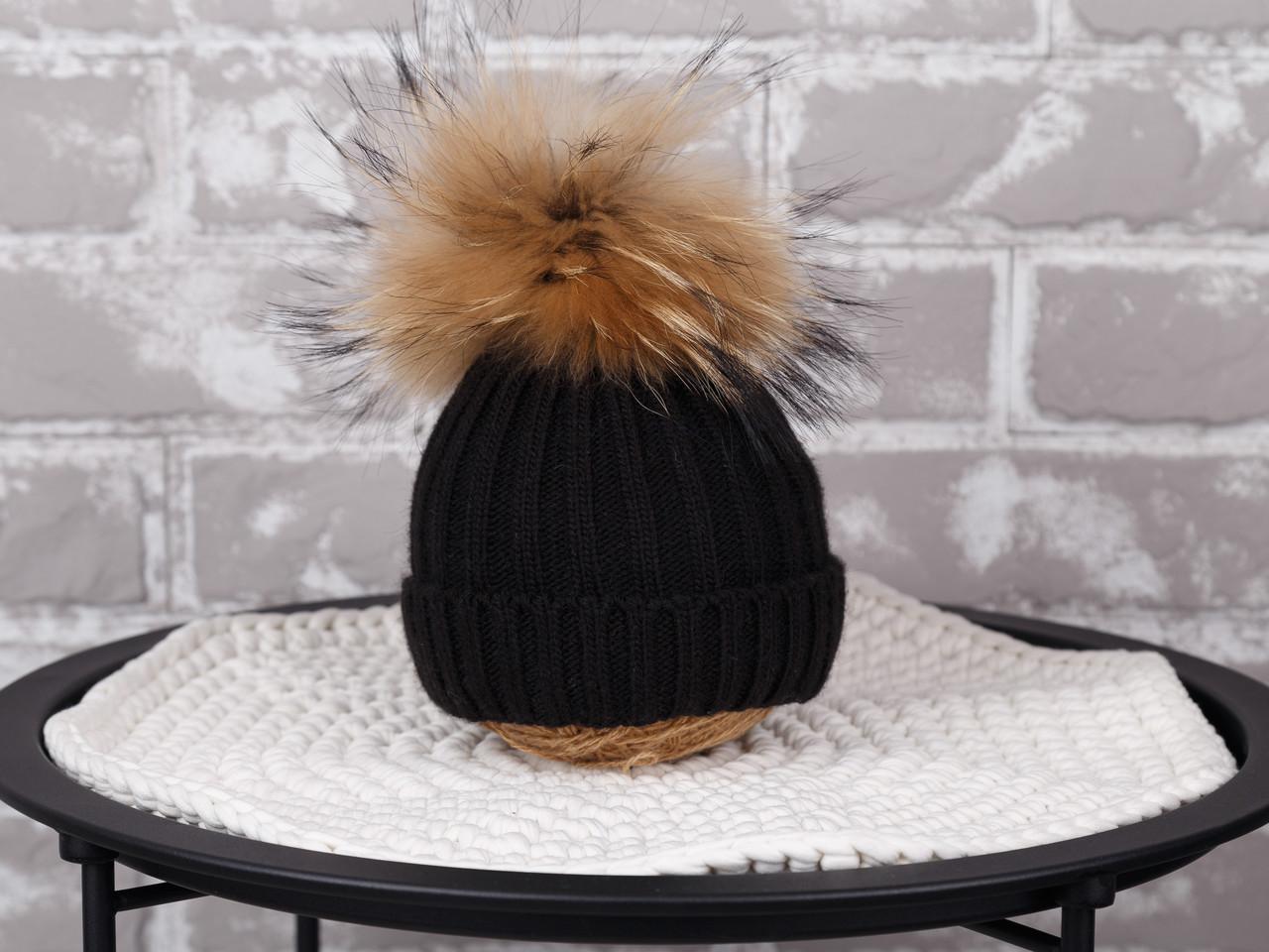 "Вязаная шапочка ""Pumpkin"", черная"