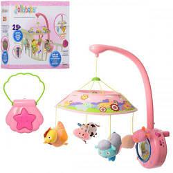 Детская карусель на кроватку WLTH8077J-P музыкальная с плюшевыми игрушками