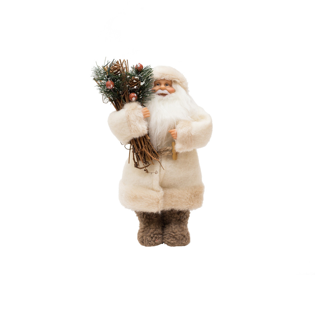 Дед Мороз в белой шубке с хворостом 32см 109431