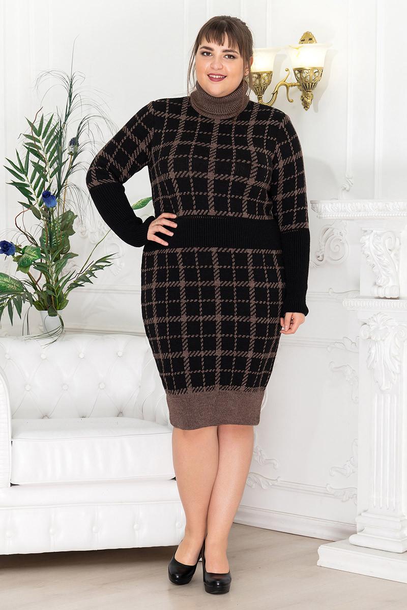 Теплое платье под горло большое коричневое Винтер