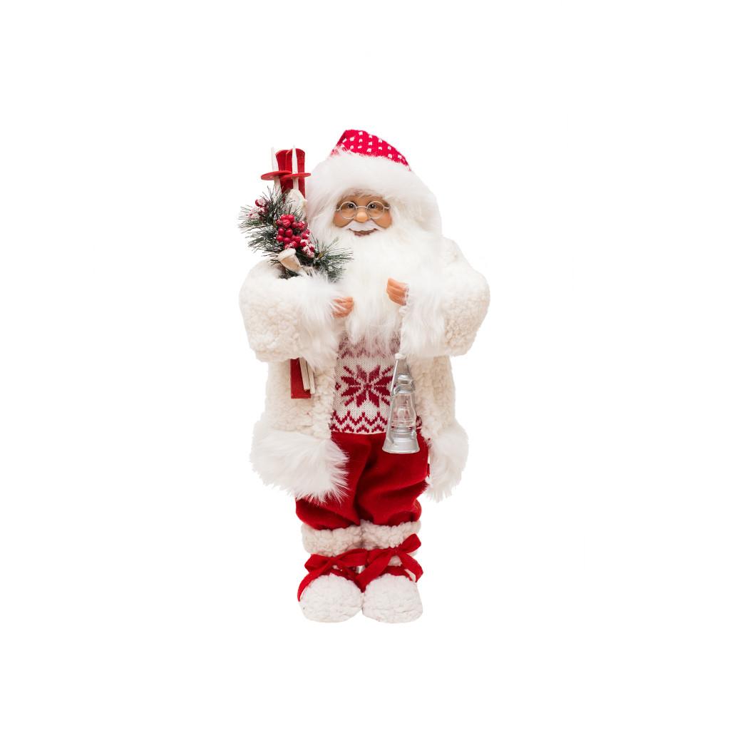 Дед Мороз в белой шубке с лыжами 32см 109429