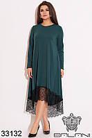 Платье батал тёплое с начёсом зелёное с кружевом (размеры 50-52, 54-56)