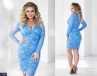 Батальное приталенное красивое платье гипюр арт 131