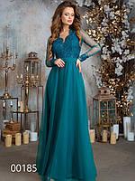 Длинное платье для торжества, 00185 (Зеленый), Размер 44 (M)