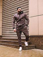 Спортивный костюм мужской весенний осенний качественный модный коричневый Дайвинг, фото 1
