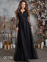 Красивое платье в пол для выхода, 00186 (Черный), Размер 46 (L)