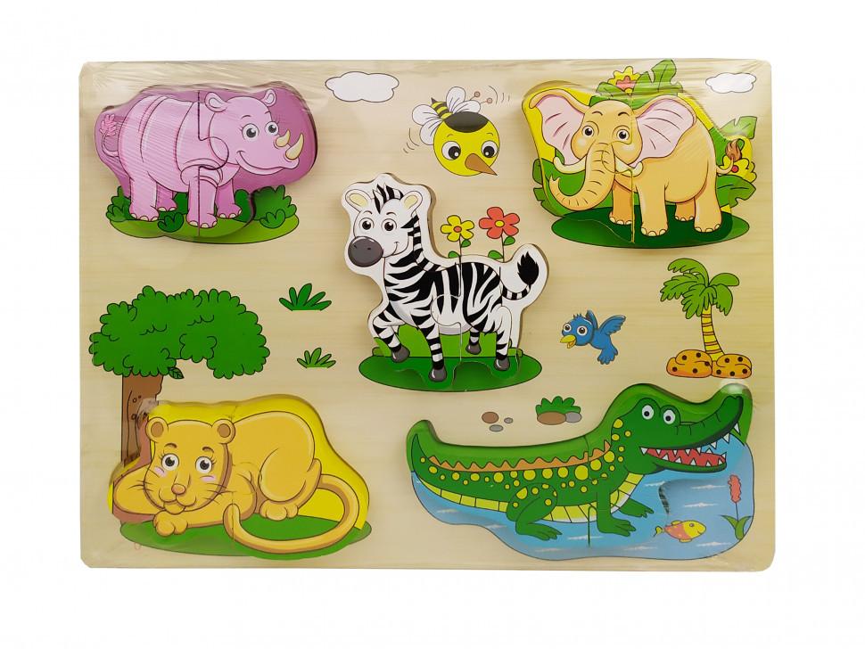 Деревянная игрушка Рамка-вкладыш MD 1213 (Животные Саванны)