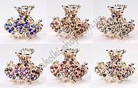 Краб для волос металлический с камнями чешское стекло модель №15, 6 штук