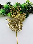 Новогодний декор. Бутоньерка золотая.