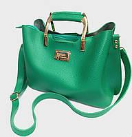 """Женская сумка, качественная """"FASHION"""", зеленая,  3 отделения, 0506-3"""