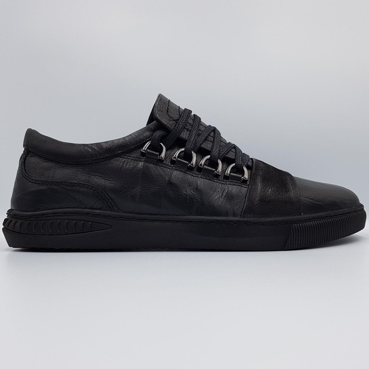 Мужские кожаные полуботинки кеды Luciano Bellini черные K0025/25