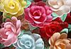 Вафельные цветы «Розы большие на трилистнике микс» 18 шт.