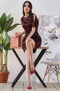 Женское вечернее трикотажное платье в пайетках
