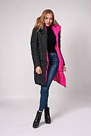 Зимнее женское молодежное пальто, цвет черный с розовой отделкой.. Размеры 42 - 48