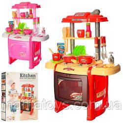 Детская игровая Кухня WD-P15-R15плита, духовка, 50-31-63 см, звук, свет, посуда, продукты, 2 вида, батар,