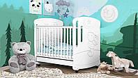 Кровать для новорожденных Зайка с стразами с маятниковым механизмоми ящиком Сиди М Украина белая 54778