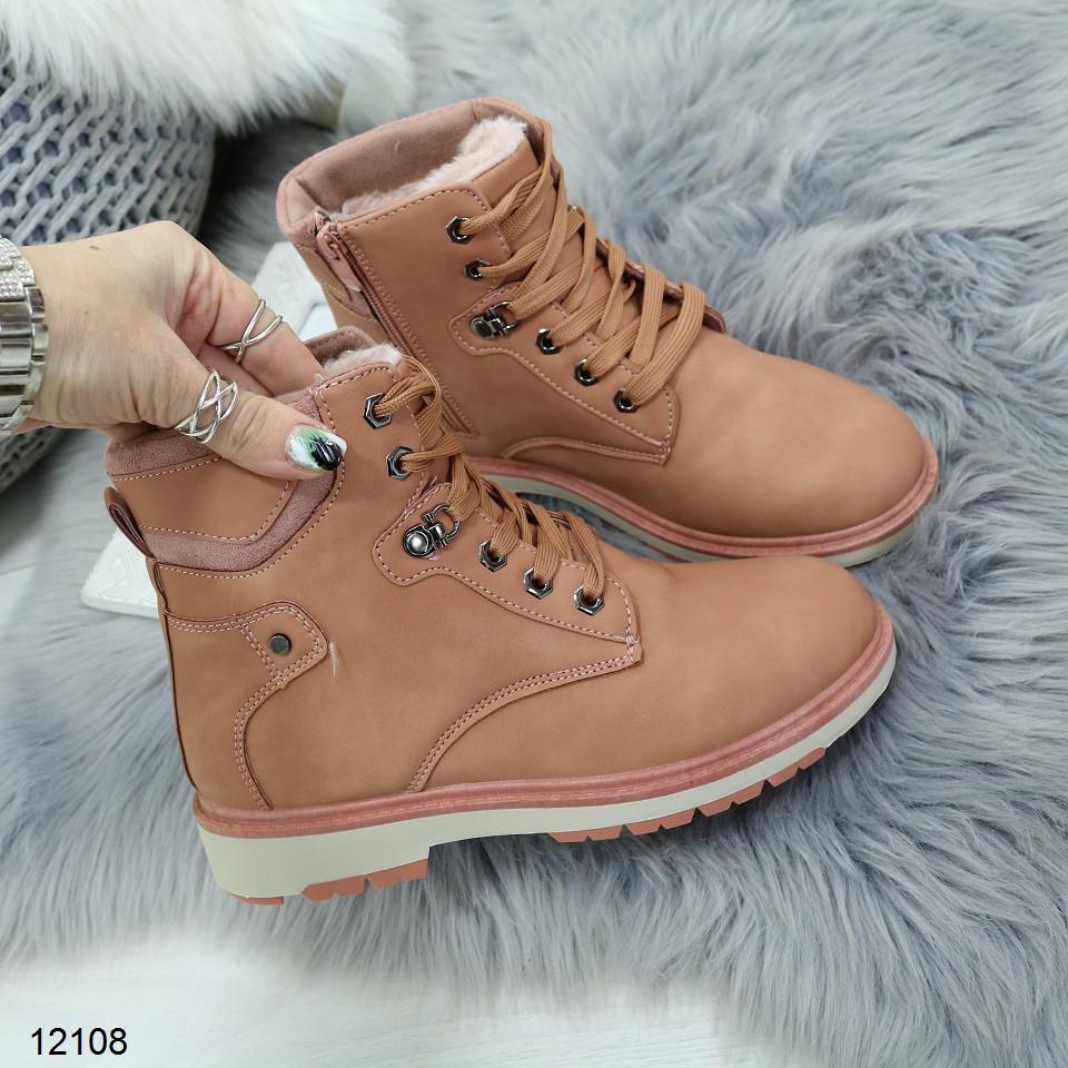 Женские зимние ботинки розового цвета, эко кожа 39 ПОСЛЕДНИЙ РАЗМЕР