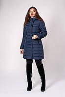 Зимнее женское пальто, цвет темно синий. Размеры 50 - 56