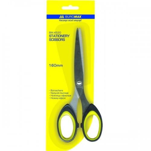 Ножницы BUROMAX 4520 офисные 16см пластик. ручка с резиновыми вставками (1/12)