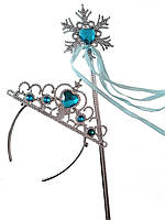 Корона и волшебная палочка ,Снегурочки Принцессы , феи  с синими камнями