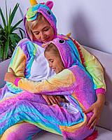 Пижама взрослая и детская (новогодний костюм) кигуруми радужный единорог