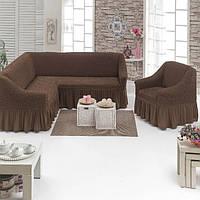 Чехлы на угловой диван и кресло. Турецкого производства.