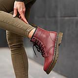 Ботинки зимние Dr. Martens (Мех), зимние бордовые ботинки Мартенс (Реплика ААА), фото 2