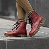 Ботинки зимние Dr. Martens (Мех), зимние бордовые ботинки Мартенс (Реплика ААА), фото 5