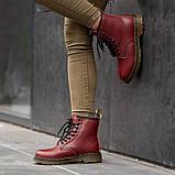 Ботинки зимние Dr. Martens (Мех), зимние бордовые ботинки Мартенс (Реплика ААА), фото 3