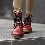 Ботинки зимние Dr. Martens (Мех), зимние бордовые ботинки Мартенс (Реплика ААА), фото 4