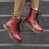 Ботинки зимние Dr. Martens (Мех), зимние бордовые ботинки Мартенс (Реплика ААА), фото 6